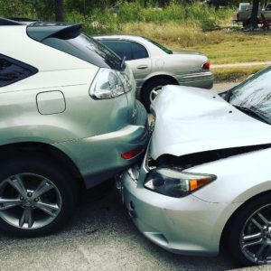 Rear-end car crash