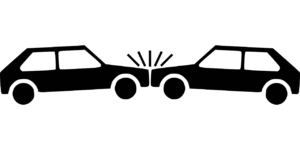 Clip art image of two cars in a head on collision